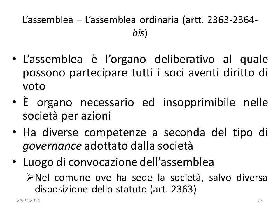 Lassemblea – Lassemblea ordinaria (artt. 2363-2364- bis) Lassemblea è lorgano deliberativo al quale possono partecipare tutti i soci aventi diritto di