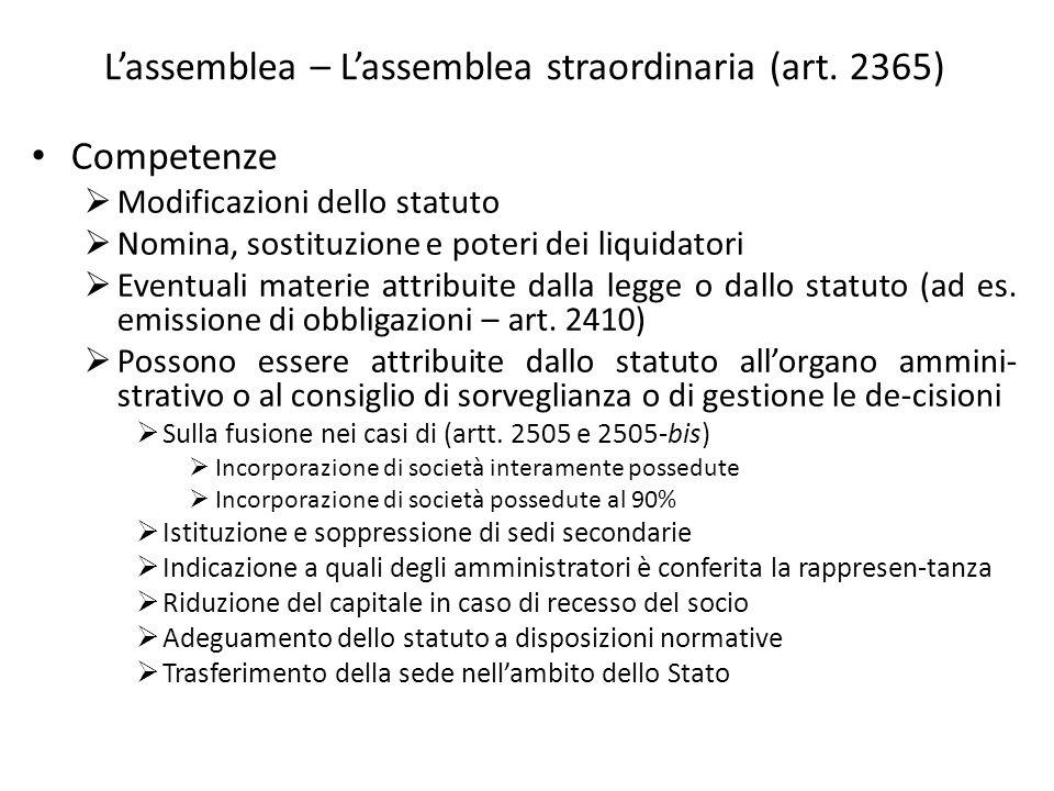 Lassemblea – Lassemblea straordinaria (art. 2365) Competenze Modificazioni dello statuto Nomina, sostituzione e poteri dei liquidatori Eventuali mater