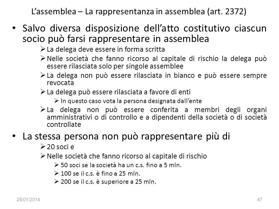 Lassemblea – La rappresentanza in assemblea (art. 2372) Salvo diversa disposizione dellatto costitutivo ciascun socio può farsi rappresentare in assem