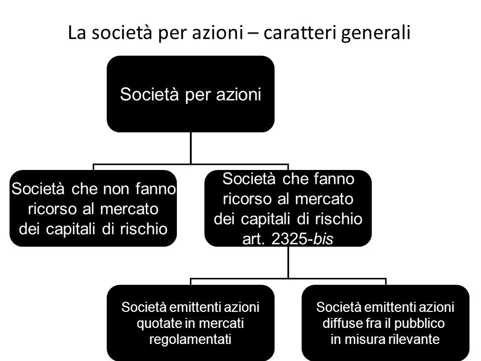 La società per azioni – caratteri generali Società per azioni Società che non fanno ricorso al mercato dei capitali di rischio Società che fanno ricor