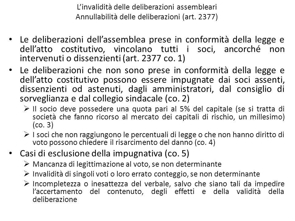 Linvalidità delle deliberazioni assembleari Annullabilità delle deliberazioni (art. 2377) Le deliberazioni dellassemblea prese in conformità della leg