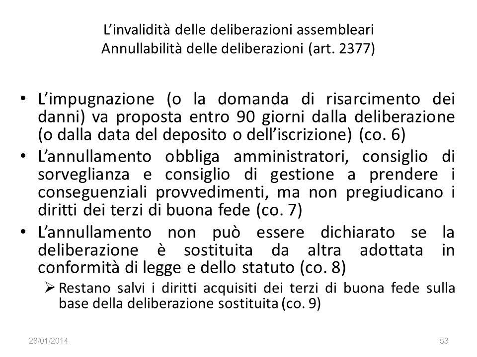 Linvalidità delle deliberazioni assembleari Annullabilità delle deliberazioni (art. 2377) Limpugnazione (o la domanda di risarcimento dei danni) va pr