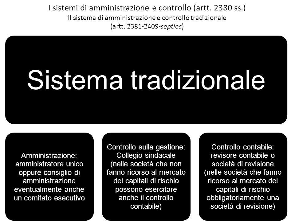 I sistemi di amministrazione e controllo (artt. 2380 ss.) Il sistema di amministrazione e controllo tradizionale (artt. 2381-2409-septies) Sistema tra