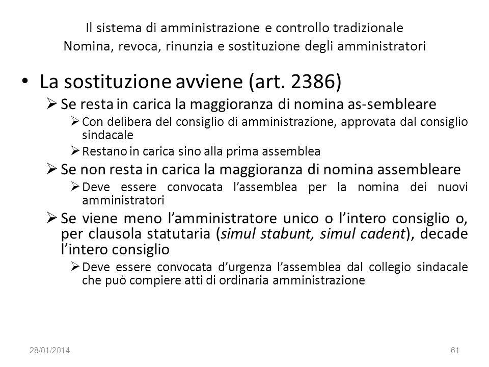 Il sistema di amministrazione e controllo tradizionale Nomina, revoca, rinunzia e sostituzione degli amministratori La sostituzione avviene (art. 2386