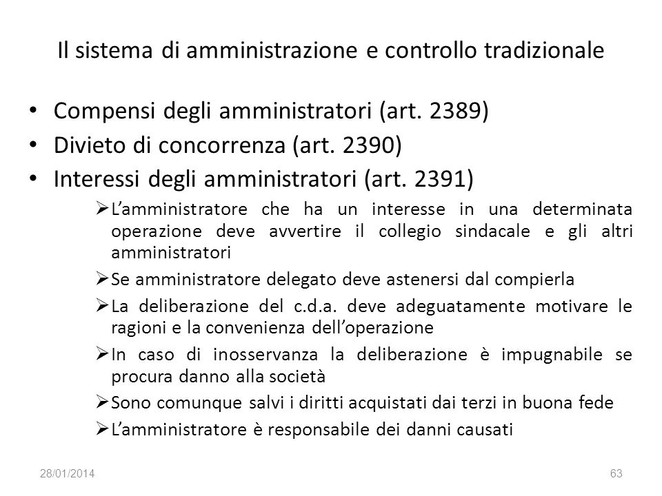 Il sistema di amministrazione e controllo tradizionale Compensi degli amministratori (art. 2389) Divieto di concorrenza (art. 2390) Interessi degli am