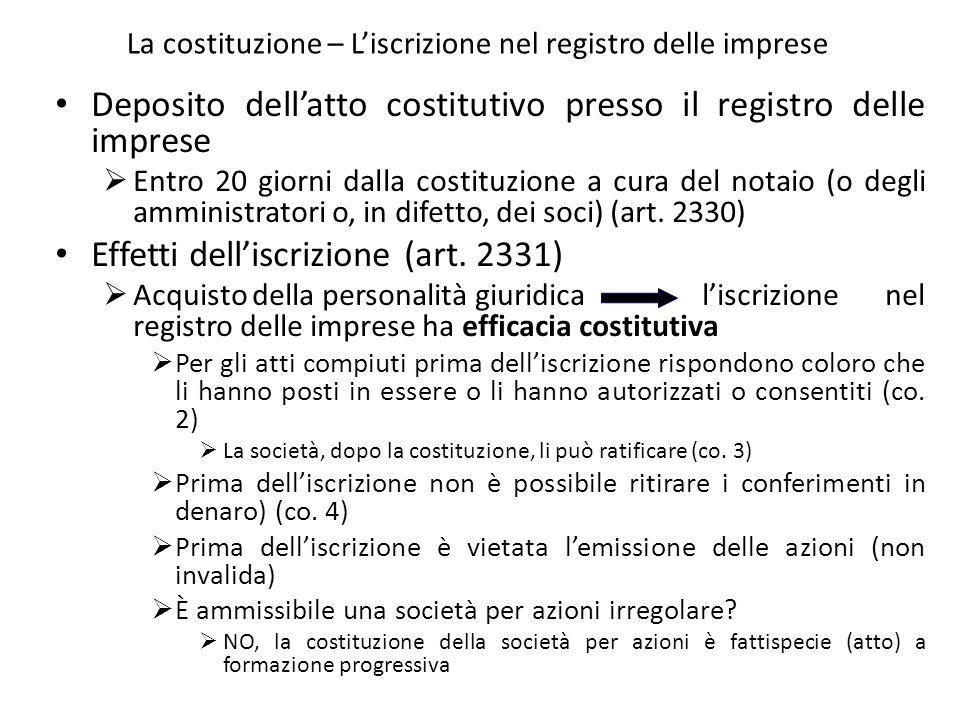 La costituzione – Liscrizione nel registro delle imprese Deposito dellatto costitutivo presso il registro delle imprese Entro 20 giorni dalla costituz