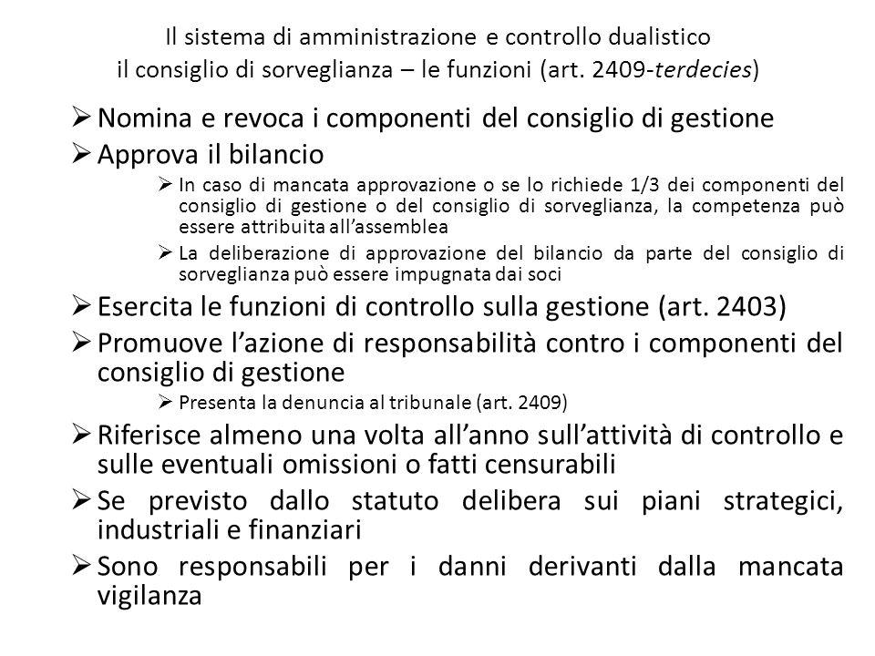 Il sistema di amministrazione e controllo dualistico il consiglio di sorveglianza – le funzioni (art. 2409-terdecies) Nomina e revoca i componenti del