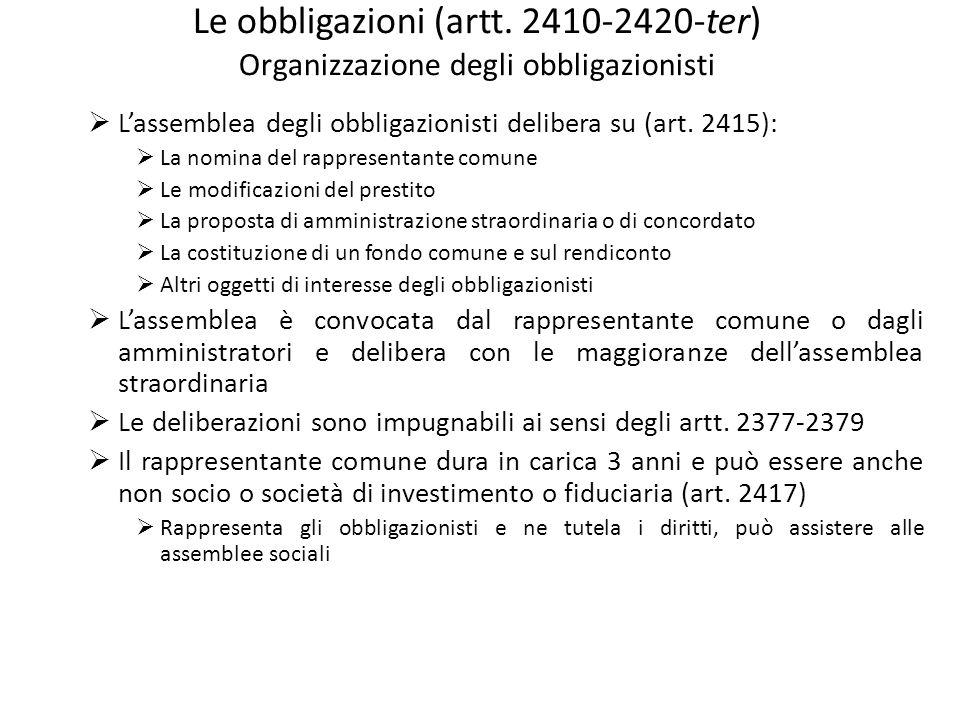 Le obbligazioni (artt. 2410-2420-ter) Organizzazione degli obbligazionisti Lassemblea degli obbligazionisti delibera su (art. 2415): La nomina del rap