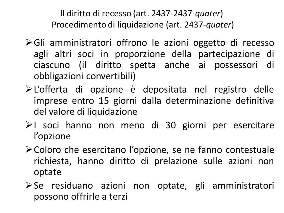 Il diritto di recesso (art. 2437-2437-quater) Procedimento di liquidazione (art. 2437-quater) Gli amministratori offrono le azioni oggetto di recesso