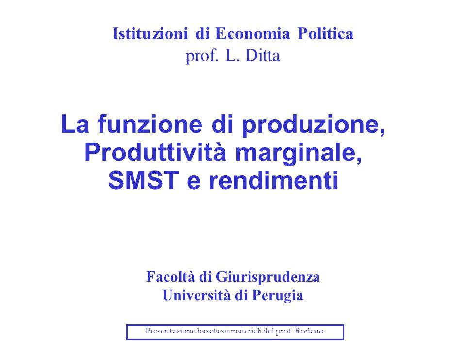 Istituzioni di Economia Politica prof. L. Ditta La funzione di produzione, Produttività marginale, SMST e rendimenti Facoltà di Giurisprudenza Univers