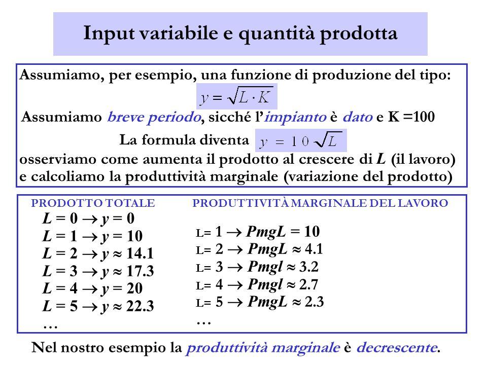 Input variabile e quantità prodotta Assumiamo, per esempio, una funzione di produzione del tipo: Assumiamo breve periodo, sicché limpianto è dato e K