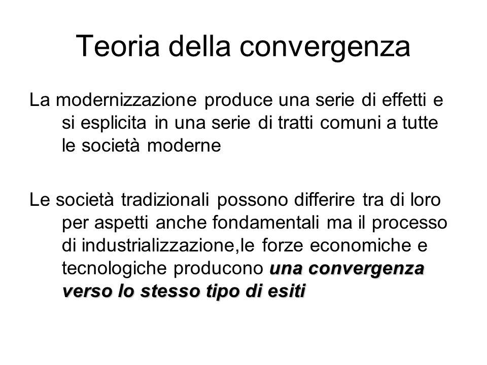 Teoria della convergenza La modernizzazione produce una serie di effetti e si esplicita in una serie di tratti comuni a tutte le società moderne una c