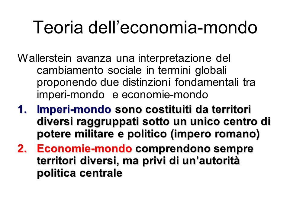 Teoria delleconomia-mondo Wallerstein avanza una interpretazione del cambiamento sociale in termini globali proponendo due distinzioni fondamentali tr