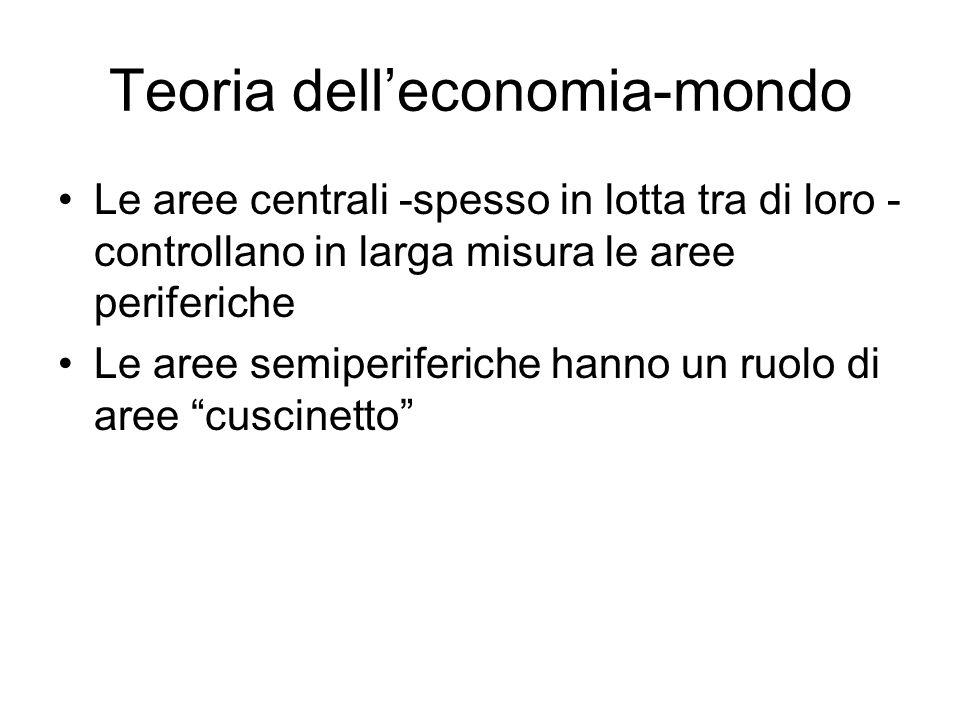 Teoria delleconomia-mondo Le aree centrali -spesso in lotta tra di loro - controllano in larga misura le aree periferiche Le aree semiperiferiche hann