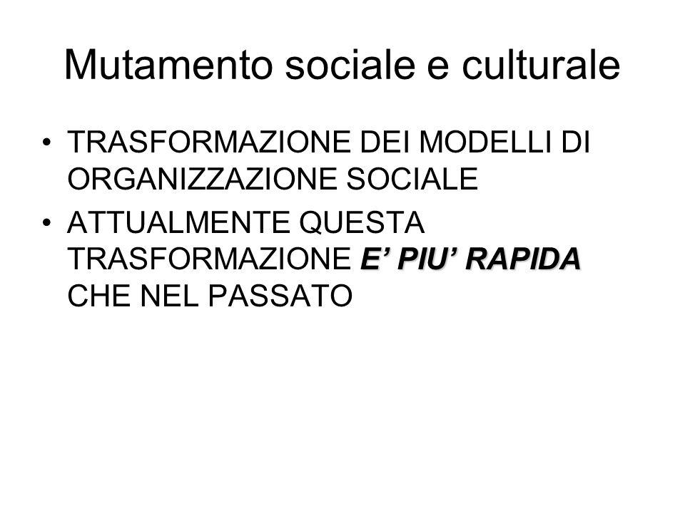 Mutamento sociale e culturale TRASFORMAZIONE DEI MODELLI DI ORGANIZZAZIONE SOCIALE E PIU RAPIDAATTUALMENTE QUESTA TRASFORMAZIONE E PIU RAPIDA CHE NEL