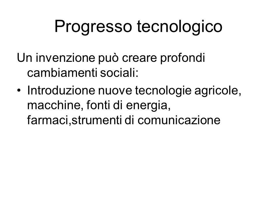 Progresso tecnologico Un invenzione può creare profondi cambiamenti sociali: Introduzione nuove tecnologie agricole, macchine, fonti di energia, farma