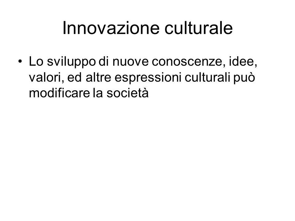 Innovazione culturale Lo sviluppo di nuove conoscenze, idee, valori, ed altre espressioni culturali può modificare la società