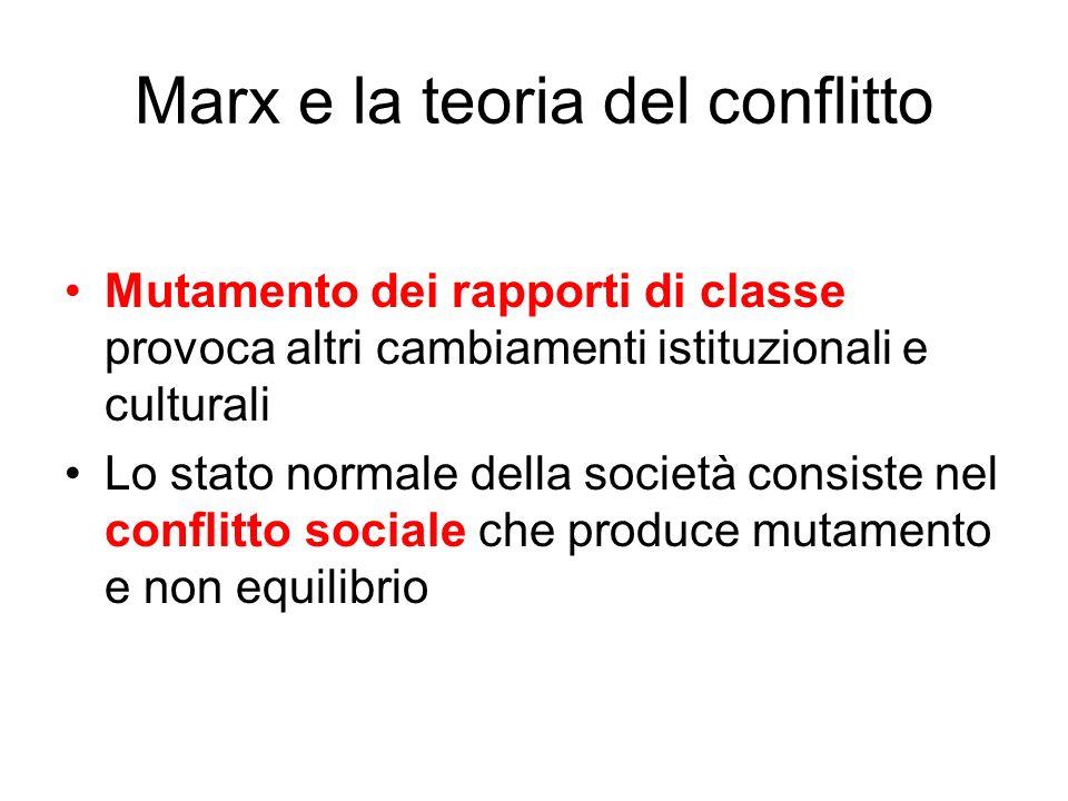 Marx e la teoria del conflitto Mutamento dei rapporti di classe provoca altri cambiamenti istituzionali e culturali Lo stato normale della società con