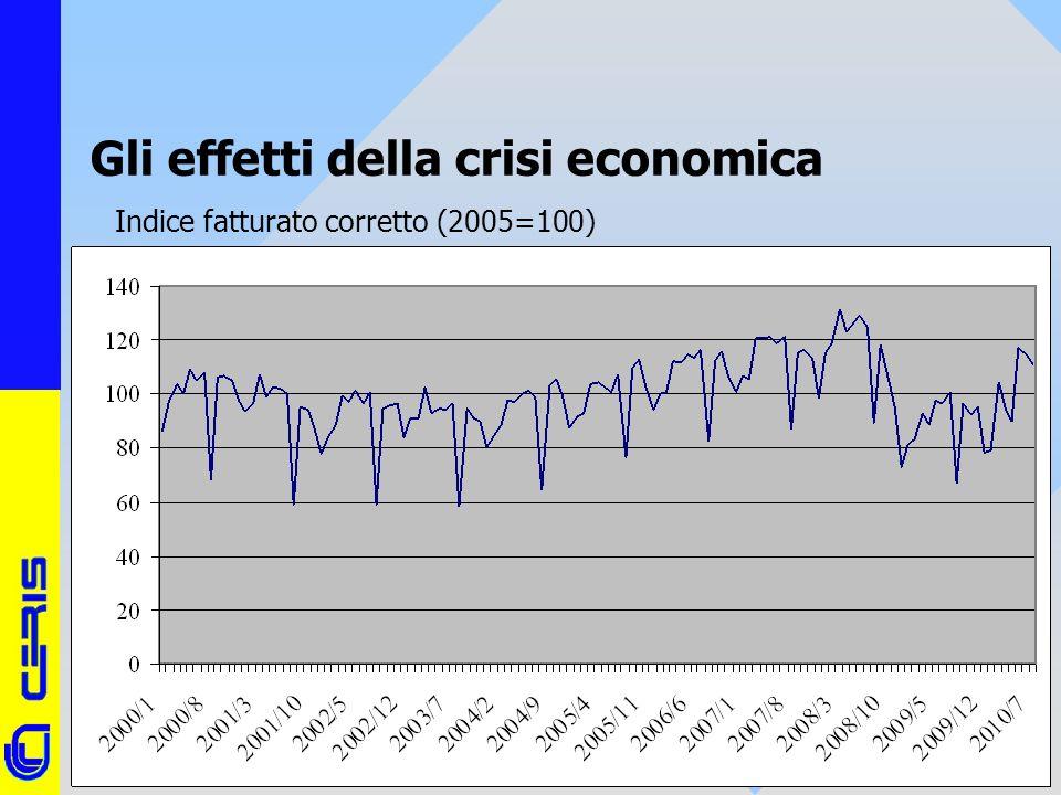 CERIS-CNR 19 Gli effetti della crisi economica Indice fatturato corretto (2005=100)