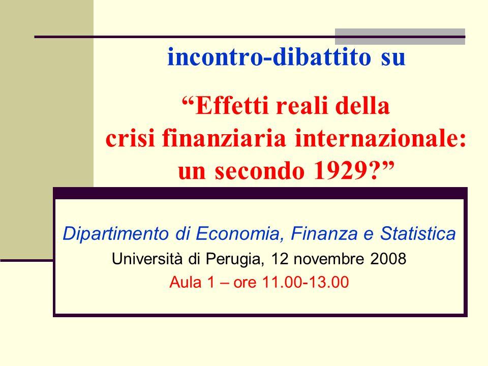 incontro-dibattito su Effetti reali della crisi finanziaria internazionale: un secondo 1929.