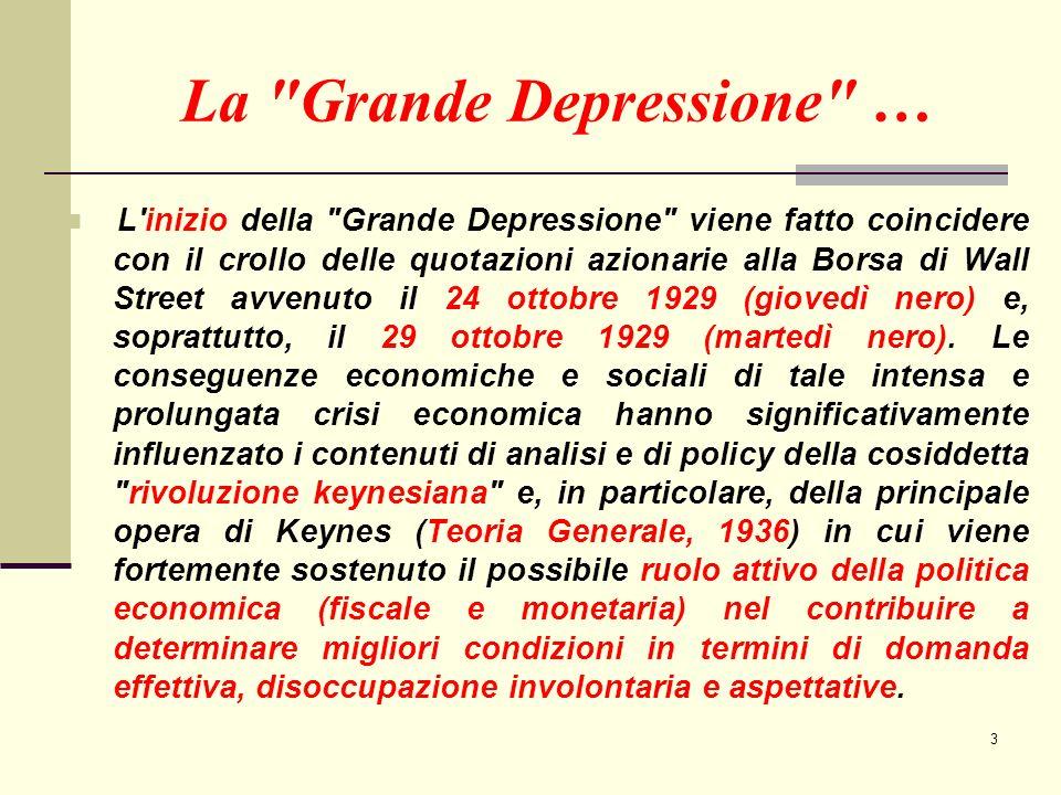 3 La Grande Depressione … L inizio della Grande Depressione viene fatto coincidere con il crollo delle quotazioni azionarie alla Borsa di Wall Street avvenuto il 24 ottobre 1929 (giovedì nero) e, soprattutto, il 29 ottobre 1929 (martedì nero).