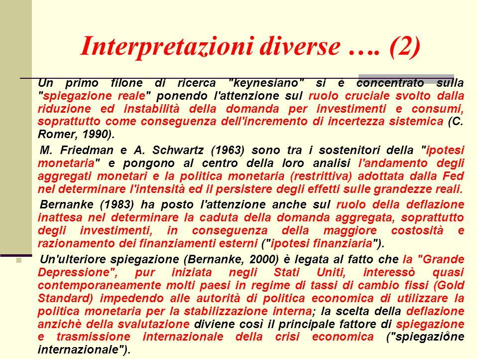 10 Interpretazioni diverse ….(3) … qualche riferimento bibliografico: Bernanke B.S.