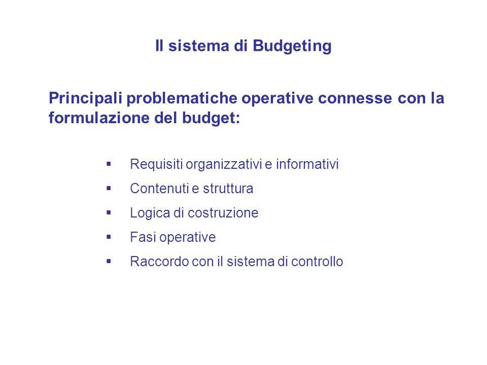 Il sistema di Budgeting Principali problematiche operative connesse con la formulazione del budget: Requisiti organizzativi e informativi Contenuti e