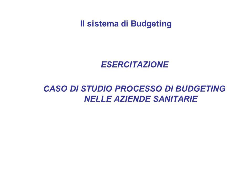 Il sistema di Budgeting ESERCITAZIONE CASO DI STUDIO PROCESSO DI BUDGETING NELLE AZIENDE SANITARIE