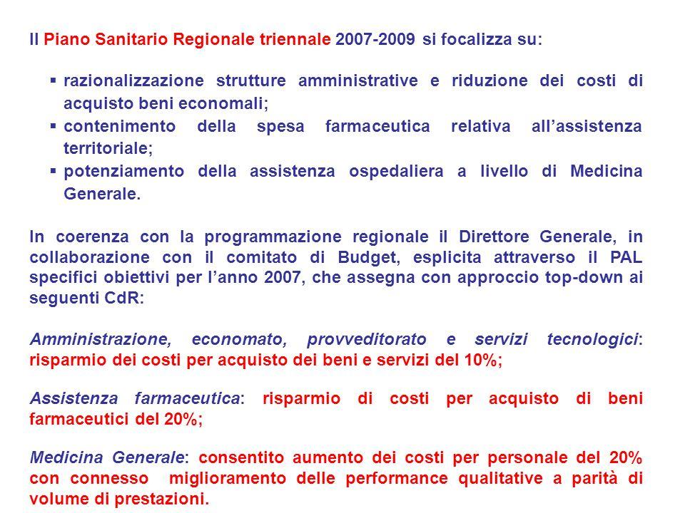 Il Piano Sanitario Regionale triennale 2007-2009 si focalizza su: razionalizzazione strutture amministrative e riduzione dei costi di acquisto beni ec