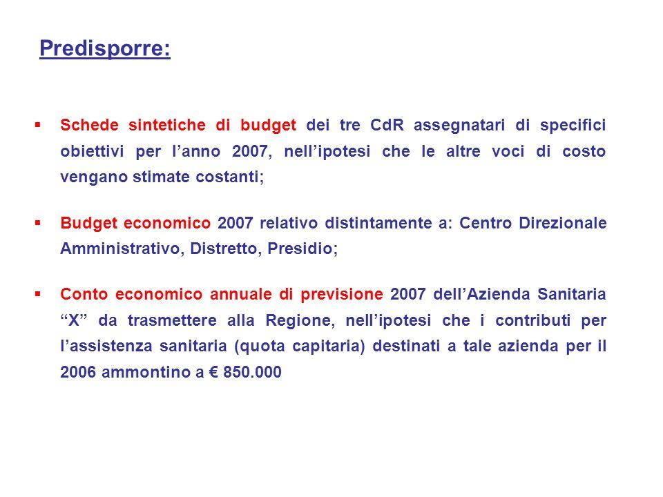 Schede sintetiche di budget dei tre CdR assegnatari di specifici obiettivi per lanno 2007, nellipotesi che le altre voci di costo vengano stimate cost