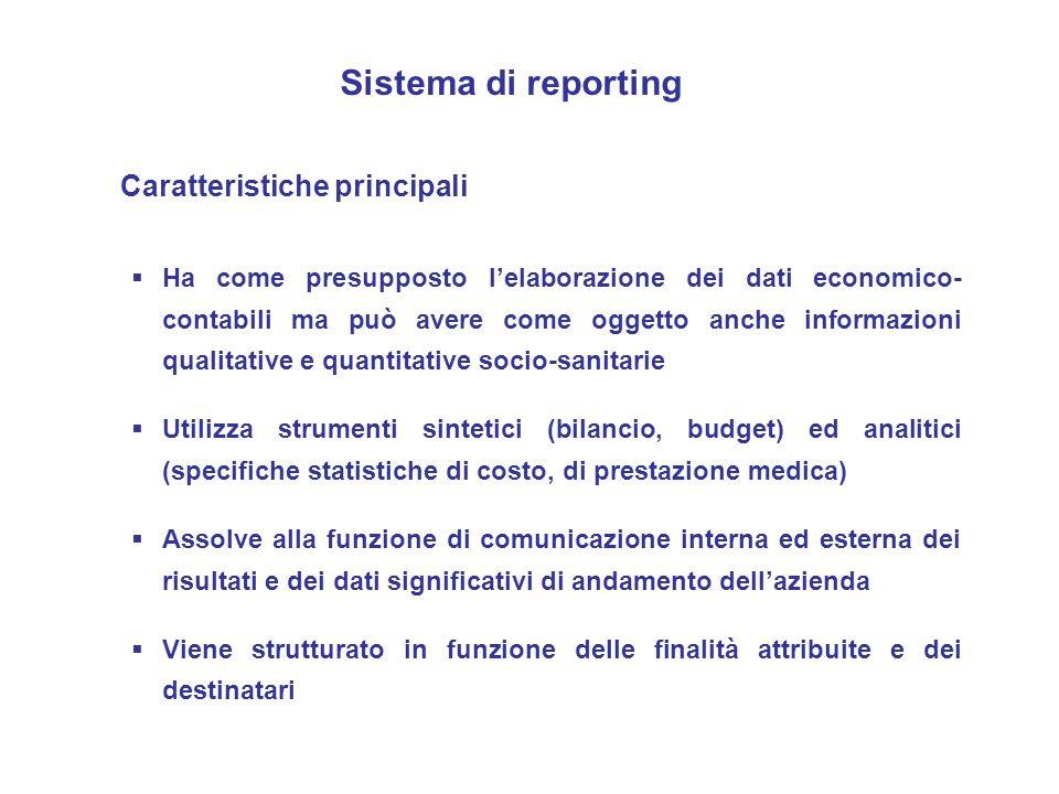Sistema di reporting Ha come presupposto lelaborazione dei dati economico- contabili ma può avere come oggetto anche informazioni qualitative e quanti
