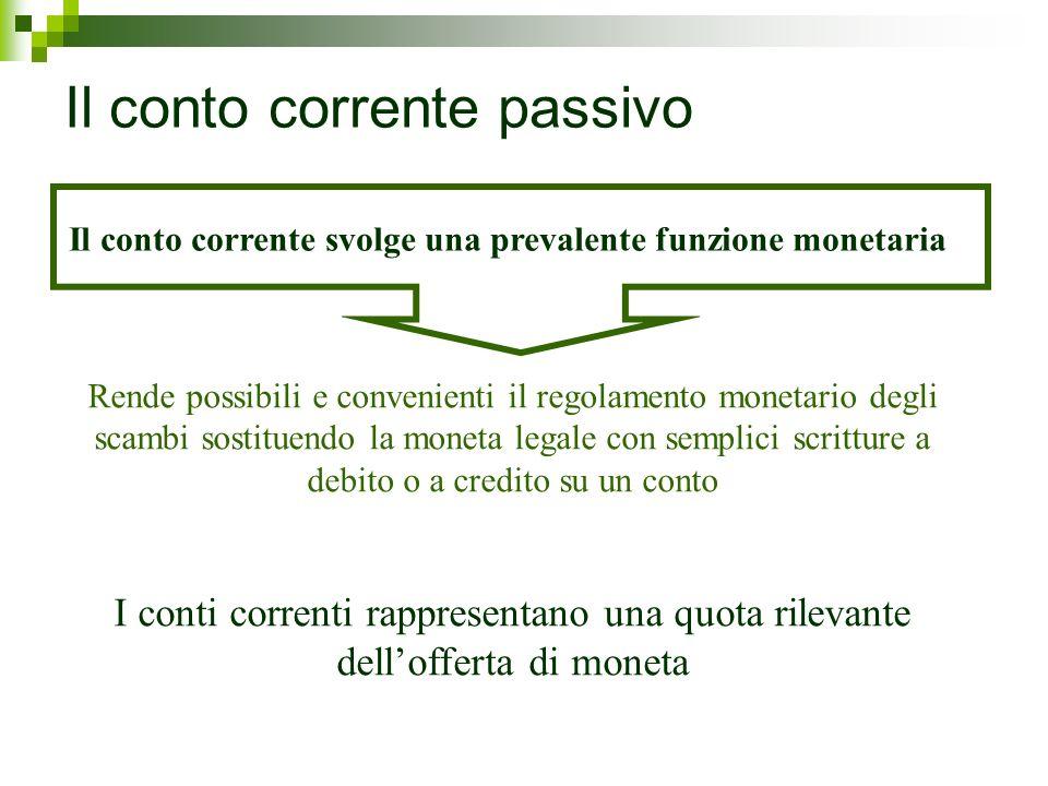Il conto corrente svolge una prevalente funzione monetaria Rende possibili e convenienti il regolamento monetario degli scambi sostituendo la moneta l