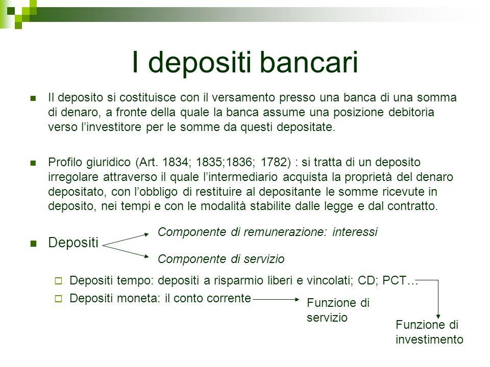 I depositi bancari Il deposito si costituisce con il versamento presso una banca di una somma di denaro, a fronte della quale la banca assume una posi