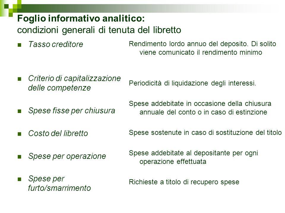 Foglio informativo analitico: condizioni generali di tenuta del libretto Tasso creditore Criterio di capitalizzazione delle competenze Spese fisse per