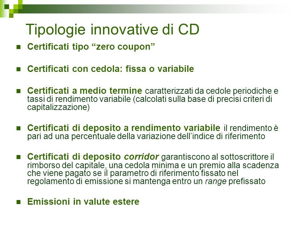 Tipologie innovative di CD Certificati tipo zero coupon Certificati con cedola: fissa o variabile Certificati a medio termine caratterizzati da cedole