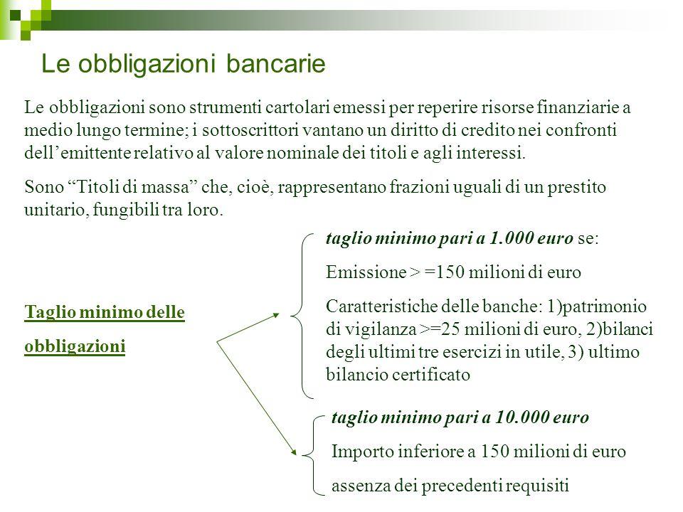 Le obbligazioni bancarie Le obbligazioni sono strumenti cartolari emessi per reperire risorse finanziarie a medio lungo termine; i sottoscrittori vant