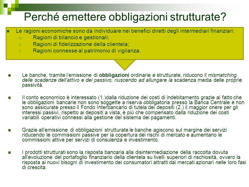 Perché emettere obbligazioni strutturate? Le ragioni economiche sono da individuare nei benefici diretti degli intermediari finanziari: a. Ragioni di