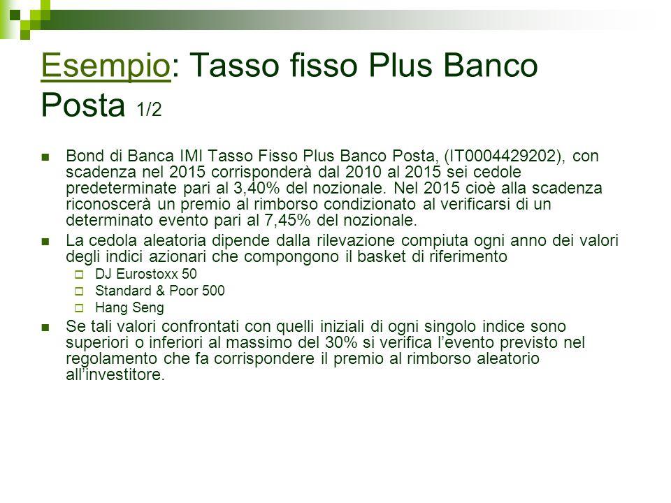 Bond di Banca IMI Tasso Fisso Plus Banco Posta, (IT0004429202), con scadenza nel 2015 corrisponderà dal 2010 al 2015 sei cedole predeterminate pari al