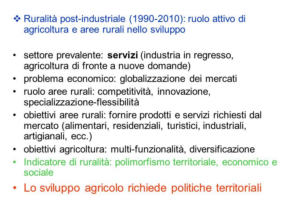 Ruralità post-industriale (1990-2010): ruolo attivo di agricoltura e aree rurali nello sviluppo settore prevalente: servizi (industria in regresso, ag