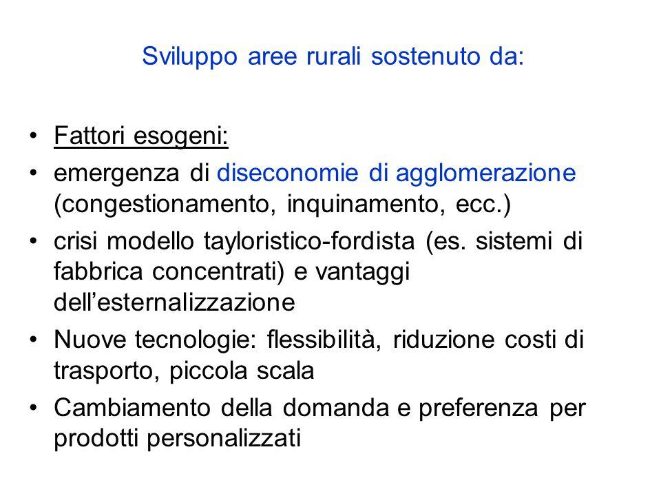 Sviluppo aree rurali sostenuto da: Fattori esogeni: emergenza di diseconomie di agglomerazione (congestionamento, inquinamento, ecc.) crisi modello ta