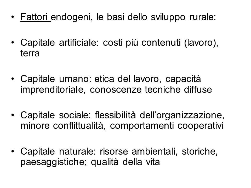 Fattori endogeni, le basi dello sviluppo rurale: Capitale artificiale: costi più contenuti (lavoro), terra Capitale umano: etica del lavoro, capacità