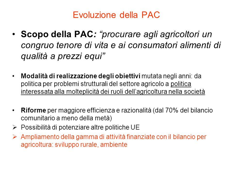 Evoluzione della PAC Scopo della PAC: procurare agli agricoltori un congruo tenore di vita e ai consumatori alimenti di qualità a prezzi equi Modalità