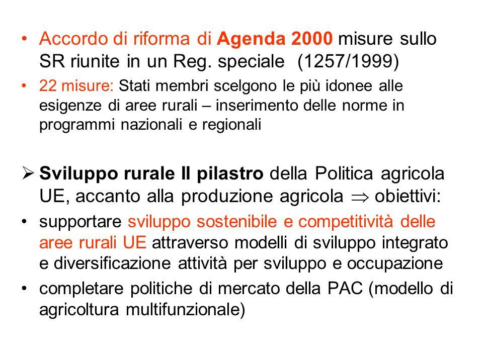 Accordo di riforma di Agenda 2000 misure sullo SR riunite in un Reg. speciale (1257/1999) 22 misure: Stati membri scelgono le più idonee alle esigenze
