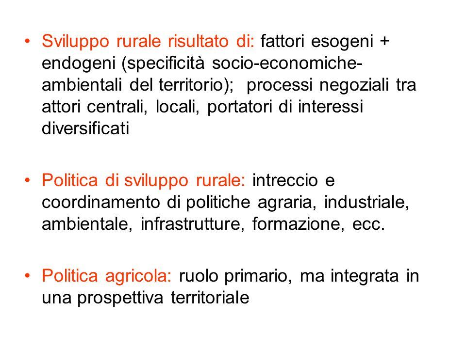 Sviluppo rurale risultato di: fattori esogeni + endogeni (specificità socio-economiche- ambientali del territorio); processi negoziali tra attori cent