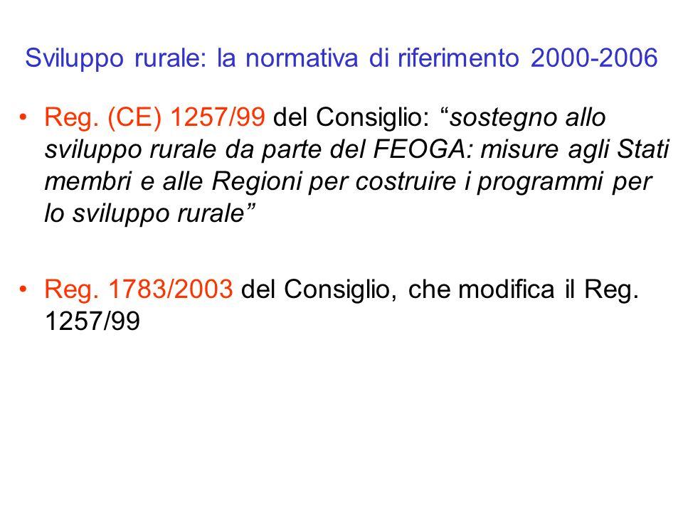 Sviluppo rurale: la normativa di riferimento 2000-2006 Reg. (CE) 1257/99 del Consiglio: sostegno allo sviluppo rurale da parte del FEOGA: misure agli