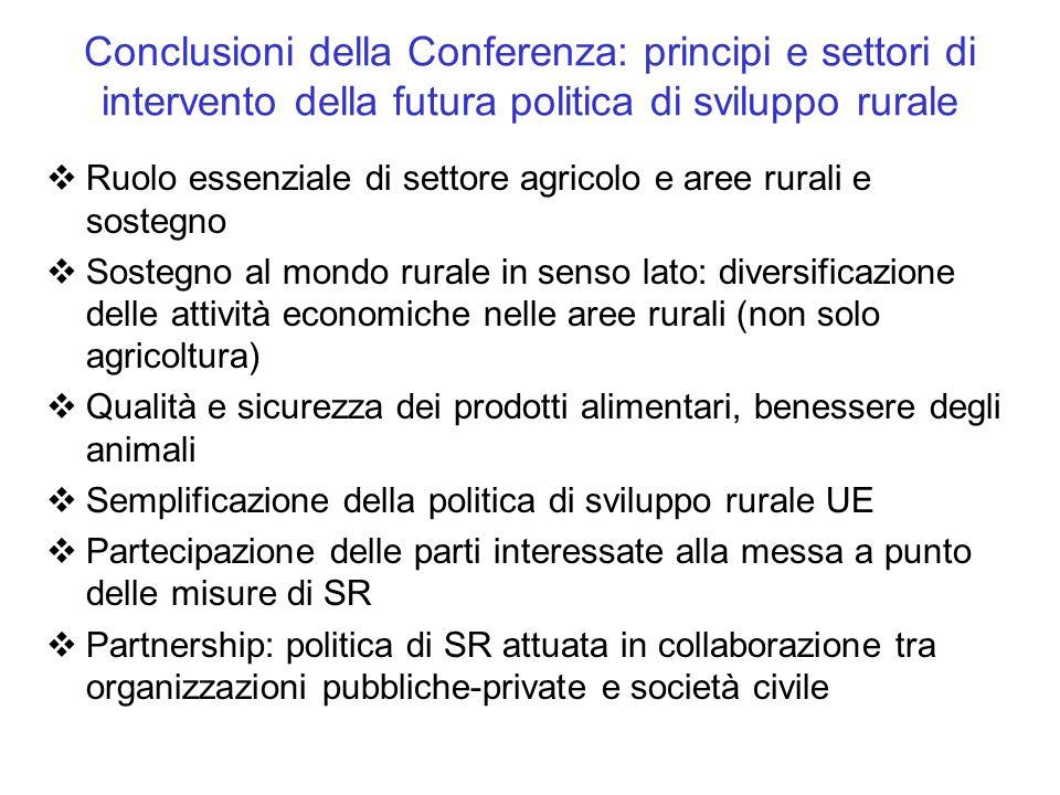 Conclusioni della Conferenza: principi e settori di intervento della futura politica di sviluppo rurale Ruolo essenziale di settore agricolo e aree ru