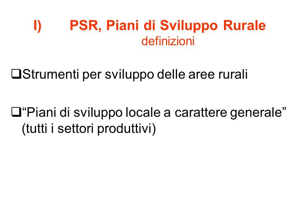 I)PSR, Piani di Sviluppo Rurale definizioni Strumenti per sviluppo delle aree rurali Piani di sviluppo locale a carattere generale (tutti i settori pr
