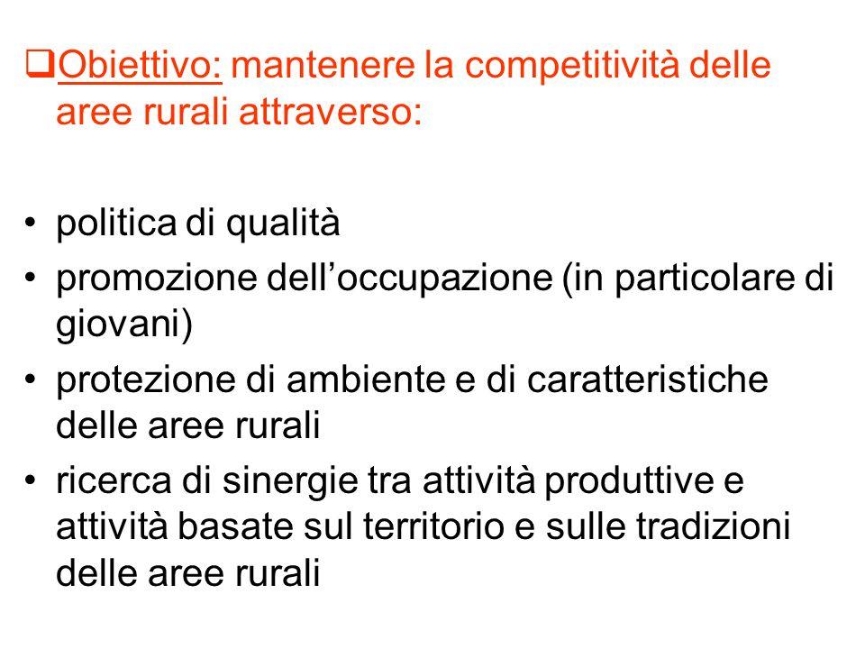 Obiettivo: mantenere la competitività delle aree rurali attraverso: politica di qualità promozione delloccupazione (in particolare di giovani) protezi