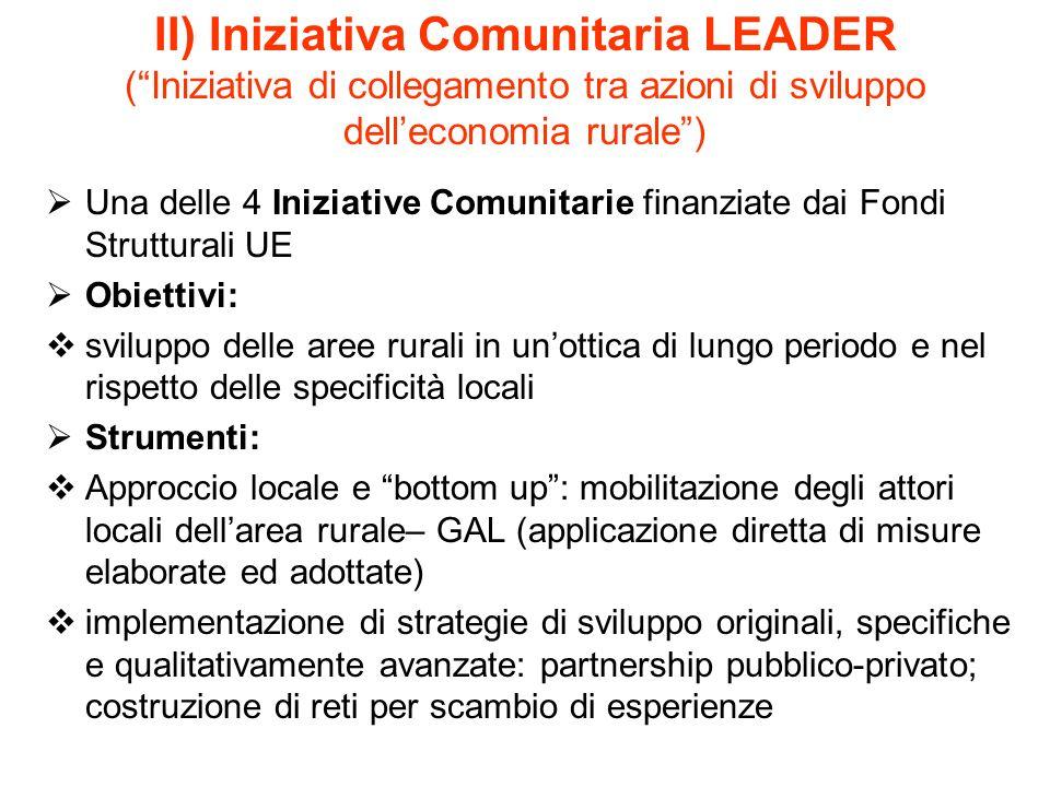 II) Iniziativa Comunitaria LEADER (Iniziativa di collegamento tra azioni di sviluppo delleconomia rurale) Una delle 4 Iniziative Comunitarie finanziat