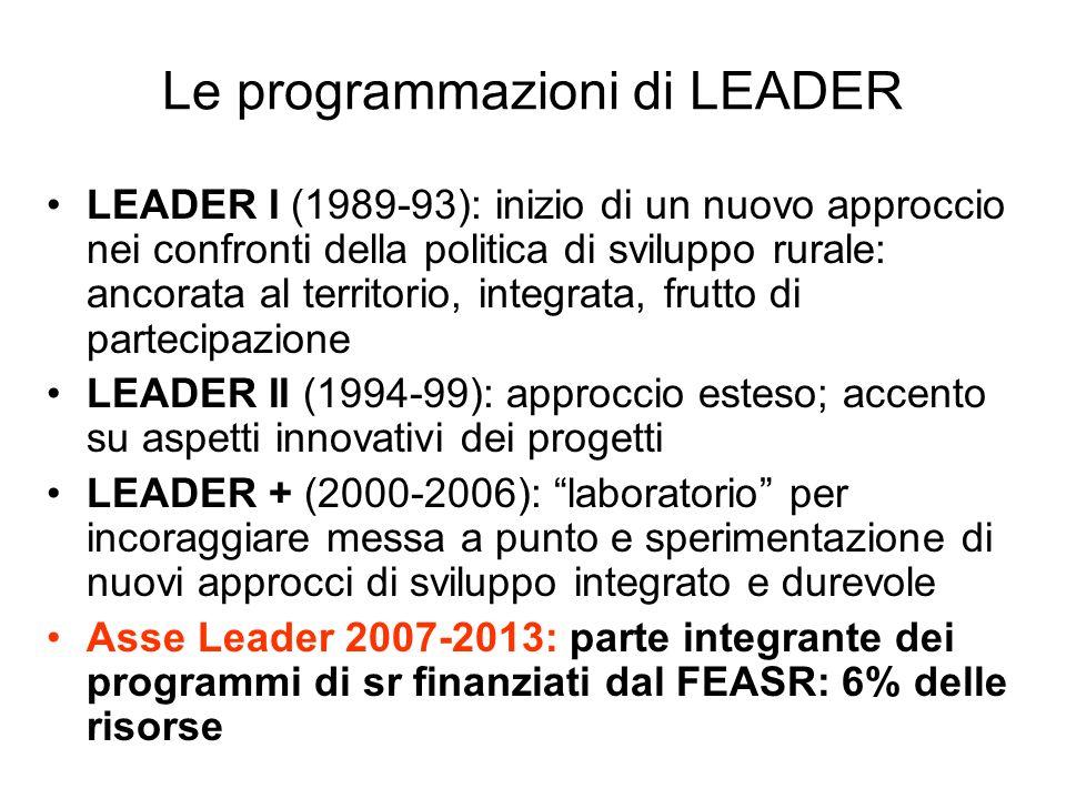 Le programmazioni di LEADER LEADER I (1989-93): inizio di un nuovo approccio nei confronti della politica di sviluppo rurale: ancorata al territorio,